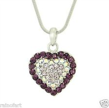 W Swarovski Crystal Purple Heart Elegant New Pendant Jewelry Necklace Gift