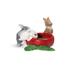 BABY RABBITS EATING by Schleich;toy/rabbit/bunny/13725/SO ADORABLE!!!