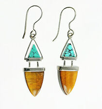 Sterling Silver Hallmark 925 Genuine Tiger's Eye and Turquoise Dangle Earrings