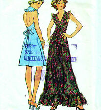 "Vintage 70s HALTER NECK DRESS Sewing Pattern Bust 38"" Sz 14 EVENING Ruffle RETRO"