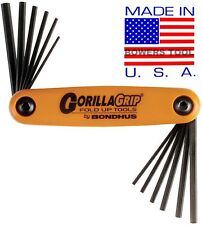 Bondhus Gorilla Grip Hex Fold Up Wrench Set Metric SAE Standard Inch USA 12550