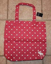 NWT Abercrombie Girls Pink with White Polka Dots Moose Logo Tote Book Bag
