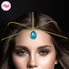HeadPiece Gold Blue Light Hair Indian Costume Jewellery Matha Patti Scarf Hijab
