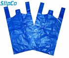 BLUE PLASTIC CARRIER BAGS STRONG VEST SHOPPING SUPERMARKET TAKEAWAY [11x17x21]