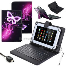 """US For Amazon Kindle Fire 7"""" 8"""" 10"""" Tablet Leather Micro USB Keyboard Case Cover"""