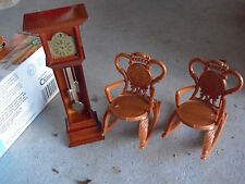 Vintage 1970s Plastic Dollhouse Furniture 2 Rocking Chairs Grandfather Clock