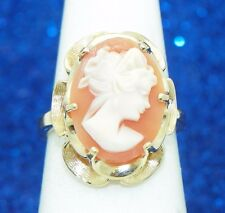 CAMEO SOLITAIRE RING SOLID 14K GOLD 6.4g SIZE 6.25