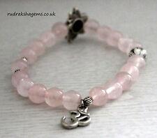 Rose Quartz Love Stone Bracelet Energy Healing Chakra Wrist Mala Band OM LOTUS