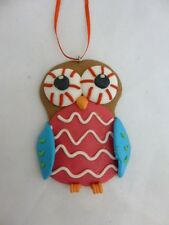 Sterling by Gerson Company Pink and Blue Owl Clay Christmas Holiday Ornament