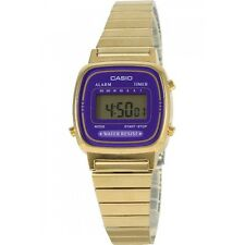 Casio LA670WGA-6 Ladies Gold Tone Stainless Steel Digital Retro Watch Purple NEW