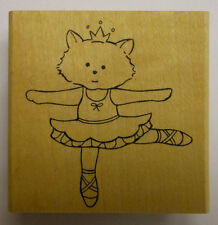 Ballerina Kitty Cat Rubber Stamp by JudiKins
