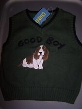 "NWT GYMBOREE CANINE ACADEMY ""GOOD BOY"" GREEN DOG SWEATER VEST 2T"