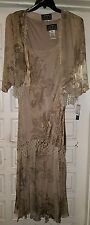 NEW Alex Evenings Gown Jacket TAUPE 20W BOHO CHIC SILK BLEND DRESS BEADING