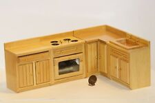 Modern Kitchen Set in Oak- Dollhouse Miniature