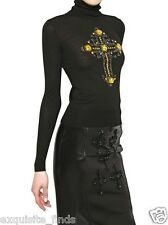 New VERSACE Swarovski Crystal Cross Black Turtleneck Sweater