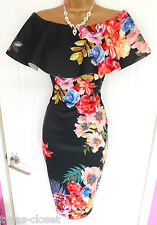 Black Floral Wiggle Cocktail Wedding Races Party Dress Size 8 BNWT