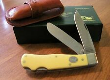 MOORE MAKER New Yellow Delrin Handle 2 Blade Jumbo Lockback Trapper Knife/Knives
