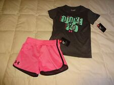 NEW Lot of 2: Girls UNDER ARMOUR Outift, Shirt + Shorts, size 5 5T, athletic