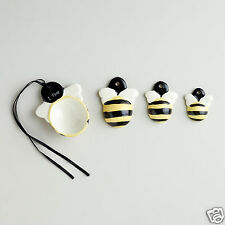 Ceramic Bumble Bee Measuring Spoon Set, 4 Spoon Set with Black & Yellow Strips!