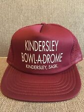 Vintage Kindersley Bowl A Drome Saskatchewan Trucker Hat Mesh Snap Back Bowling