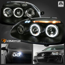 For 2006-2008 VW Jetta MK5 Golf Rabbit GTI LED Halo Projector Headlights Black