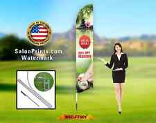15' Custom Advertising Flag Feather Banner + Pole & Spike for Nails & Spa Salon