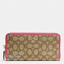 New Coach F54633 Accordion Zip Wallet In Outline Signature Khaki Strawberry NWT
