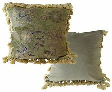 "LUXURY ROYAL GREEN GOLD TAPESTRY TASSELED CHENILLE THICK CUSHION COVER 18""- 45CM"