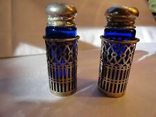 PR OF VINTAGE GODINGER COBALT BLUE SALT AND PEPPERS W/ SILVER FILAGREE SURROUND