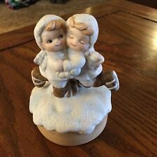 "Bisque Little Children Ice Scaters Music Box-5""tall"