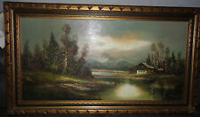 Antique very large ornate giltframed,signed oil painting Alpine scene by Waldeck