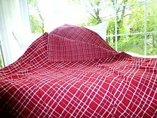"IKEA Dark Red PLAID CHECK FJALLTAG Full Queen REVERSIBLE Duvet Cover 82"" x 86"""