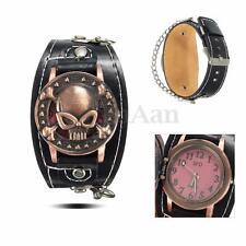 Hombre Mujer Reloj De Pulsera Retro Punk Rock Cráneo Cuarzo Wrist Watche Regalos