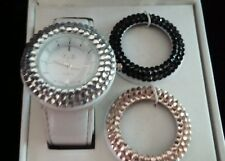 NIB XCLUSIVE CRYSTAL INTERCHANGEABLE BEZEL SET- WHITE LEATHER BAND #15425