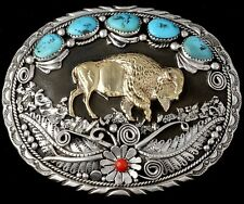 Turquoise, Coral & Sterling Silver Buffalo Belt Buckle by Navajo Tom Ahasteen