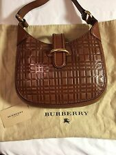Burberry Brown Leather Nova Check Medium Hobo Bag Purse Tote Logo Authentic USA