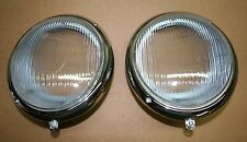 VW Split Oval beetle Bug  - 1966 fluted glass lense headlight assembly pair euro