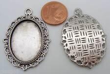 5 pendentifs support cabochon 25x18mm métal argenté DIY création bijoux MA22