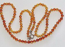 VINTAGE 3.5cm SMALL BALTIC COGNAK AMBER BEADS 9K Gold CLASP KNOTTED NECKLACE