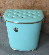 Vtg Pearl Wick Mid Century Powder Green Laundry Hamper Lucite Handles EUC!