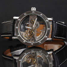 Genuine Leather Men Mechanical Gold Skeleton Clear Dial Automatic Watch Relojes