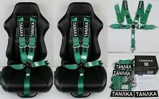 "2 X TANAKA UNIVERSAL GREEN 5 POINT CAMLOCK RACING SEAT BELT HARNESS 3"" SFI 16.1"