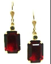 Catherine Popesco 14K Gold Plated  Siam Red  Dangle Earrings . M16