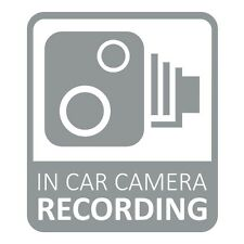 In Car CCTV Camera Recording Dash Cam Car Van Window Bumper Sticker Decal Grey