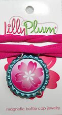 "New Lilly Plum 12"", Choker Pink Necklace withTeal Blue pendant"