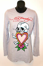 NWT ED HARDY Christian Audigier LONG SLEEVE T-SHIRT SKULL IN LOVE Made in USA L