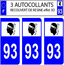 3 sticker plaque immatriculation auto DOMING 3D RESINE DRAPEAU CORSE  DEPARTE 93
