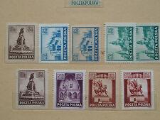 Polen 1945 / Kat. Fischer Nr. 362 – 366 mit verschiedenen  Farbtonen