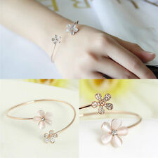 Flower Cat's Eye Daisy Crystal Gold Plated Cuff Charm Bracelet Bangle Jewelry