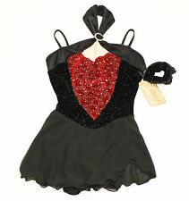 New Competition Skating Dress Elite Expression Black & Red Glitter AS Small